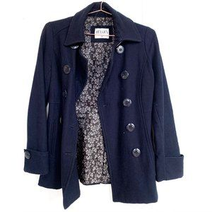 delias navy blue wool pea coat w/high neck buttons